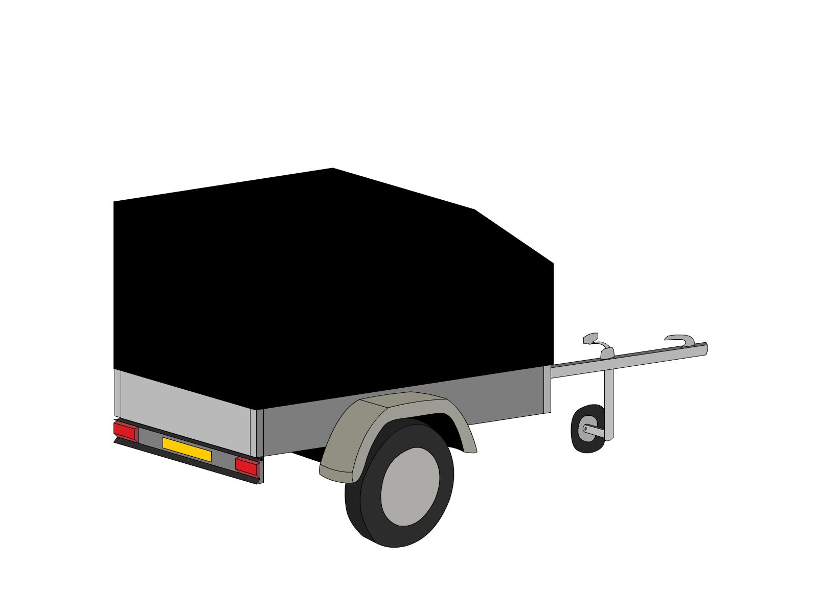 Bâche pour remorque bagagère aérodynamique 2 essieux
