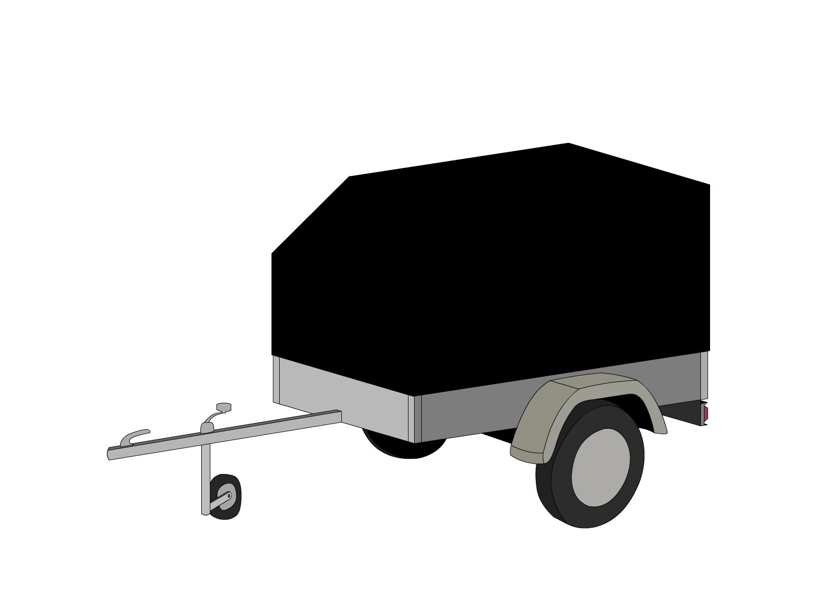 Bâche pour remorque bagagère aérodynamique 1 essieu