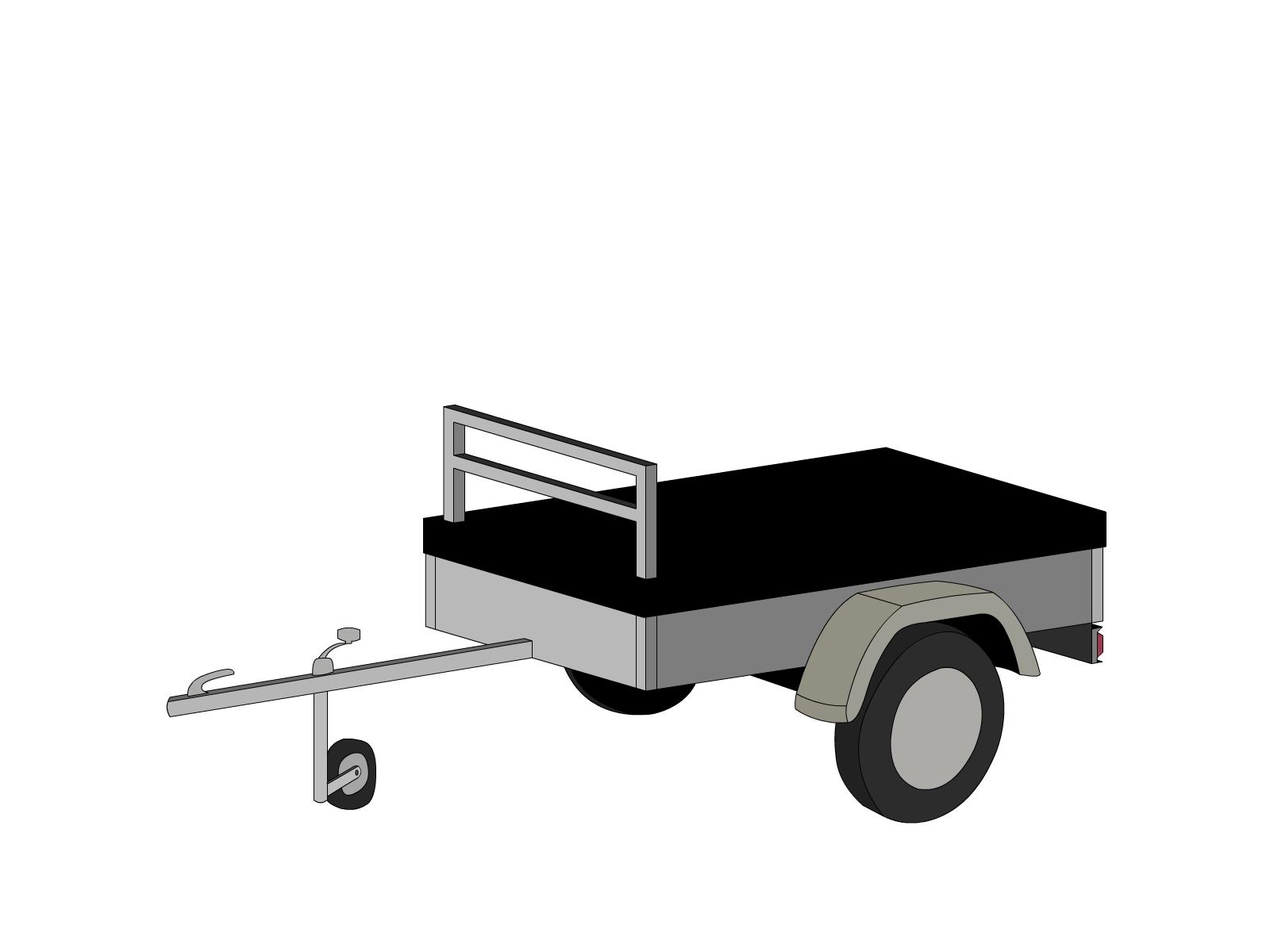 Bâche pour remorque bagagère basse droite 2 essieux
