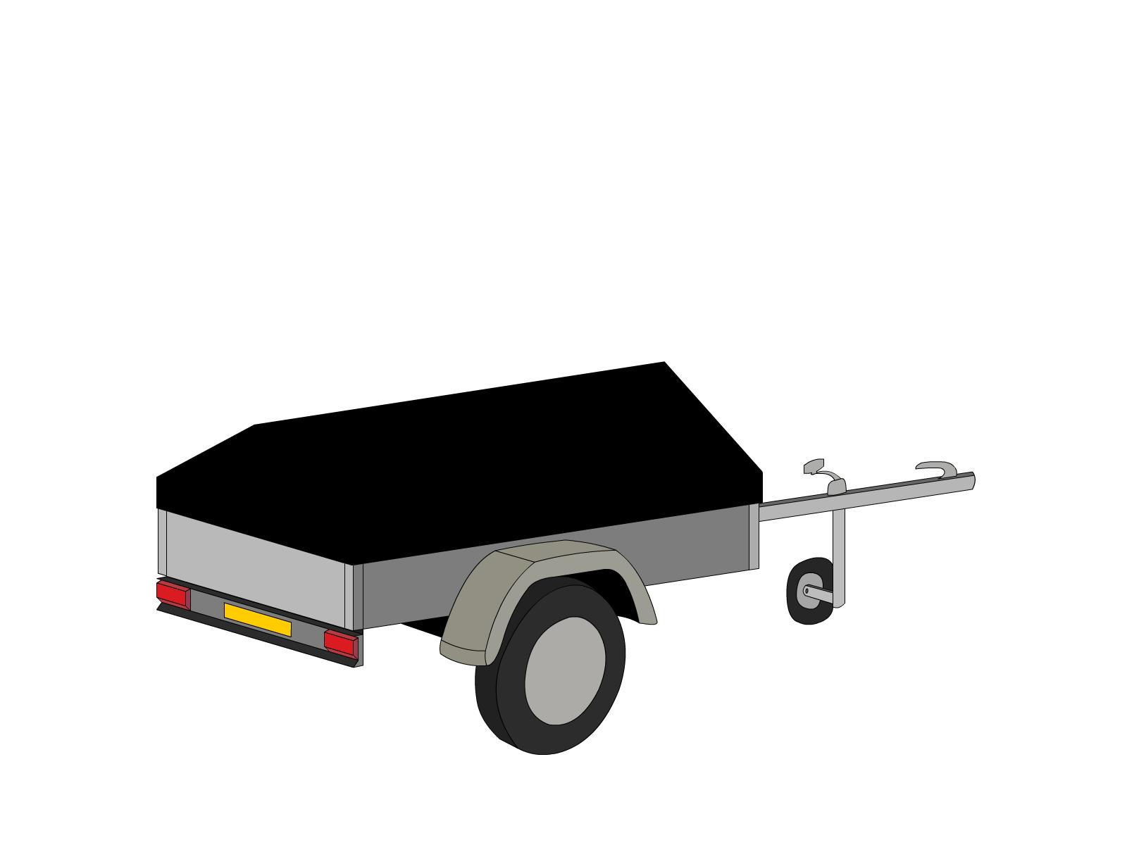 Bâche pour remorque bagagère basse flèche 2 essieux