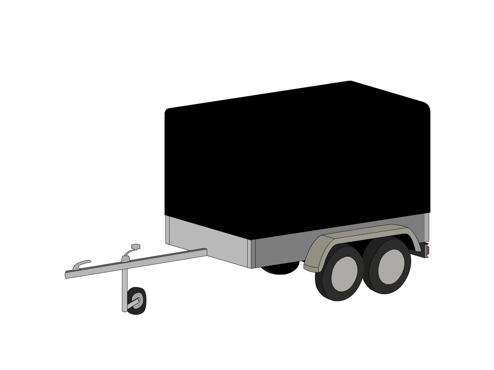 Bâche pour remorque bagagère bord arrondi droite 2 essieux