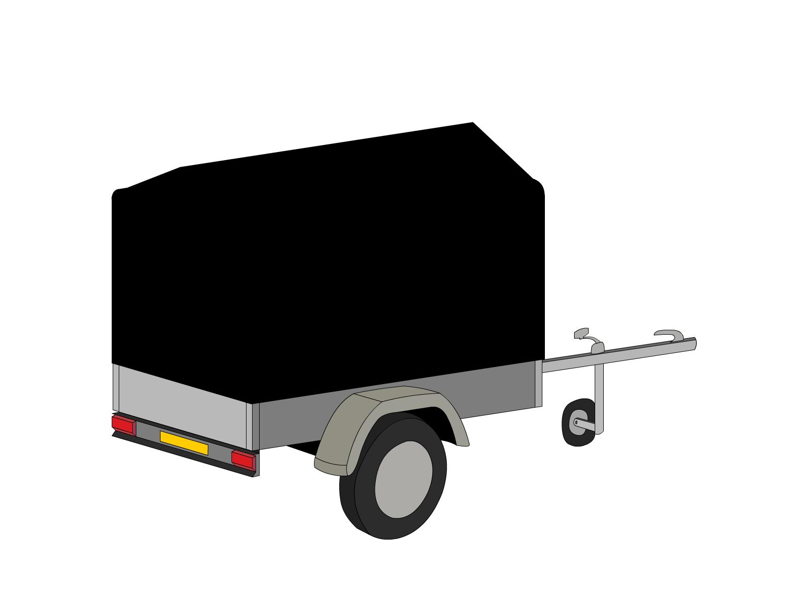 Bâche pour remorque bagagère bord arrondi flèche 2 essieux