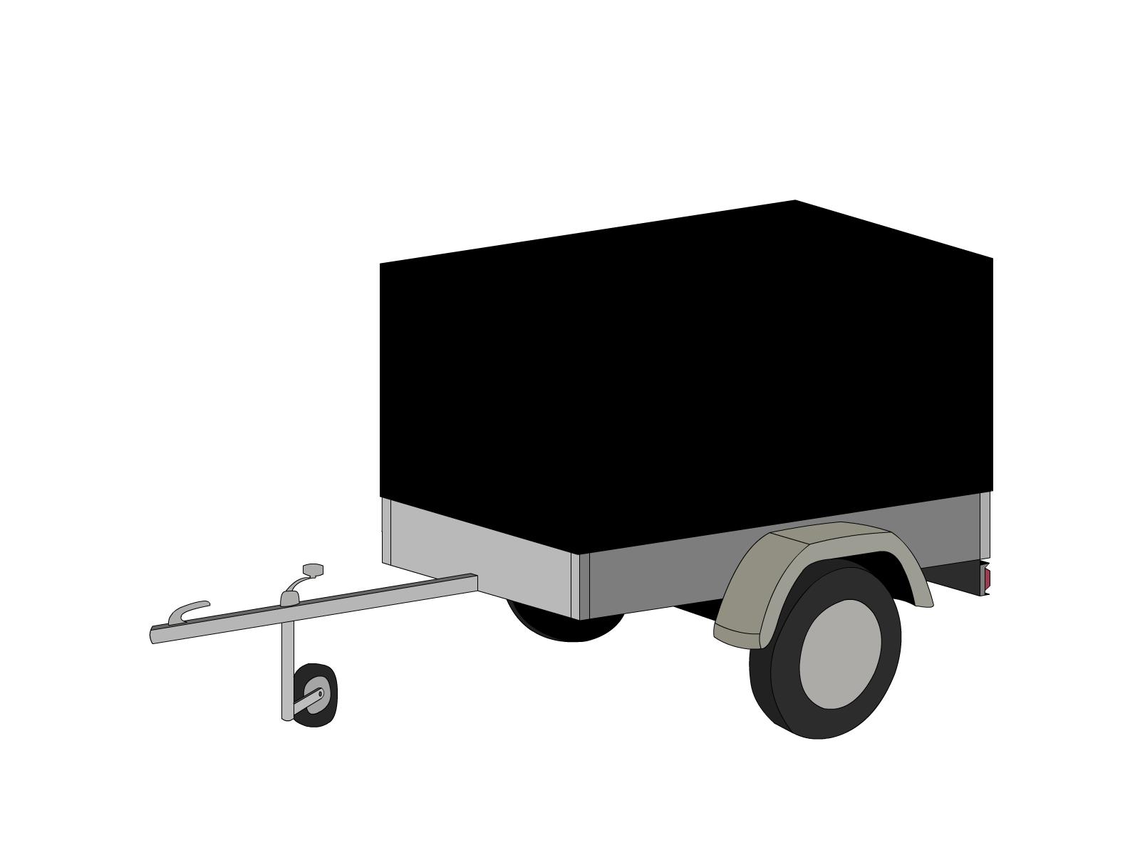 Bâche pour remorque bagagère haute droite 1 essieu