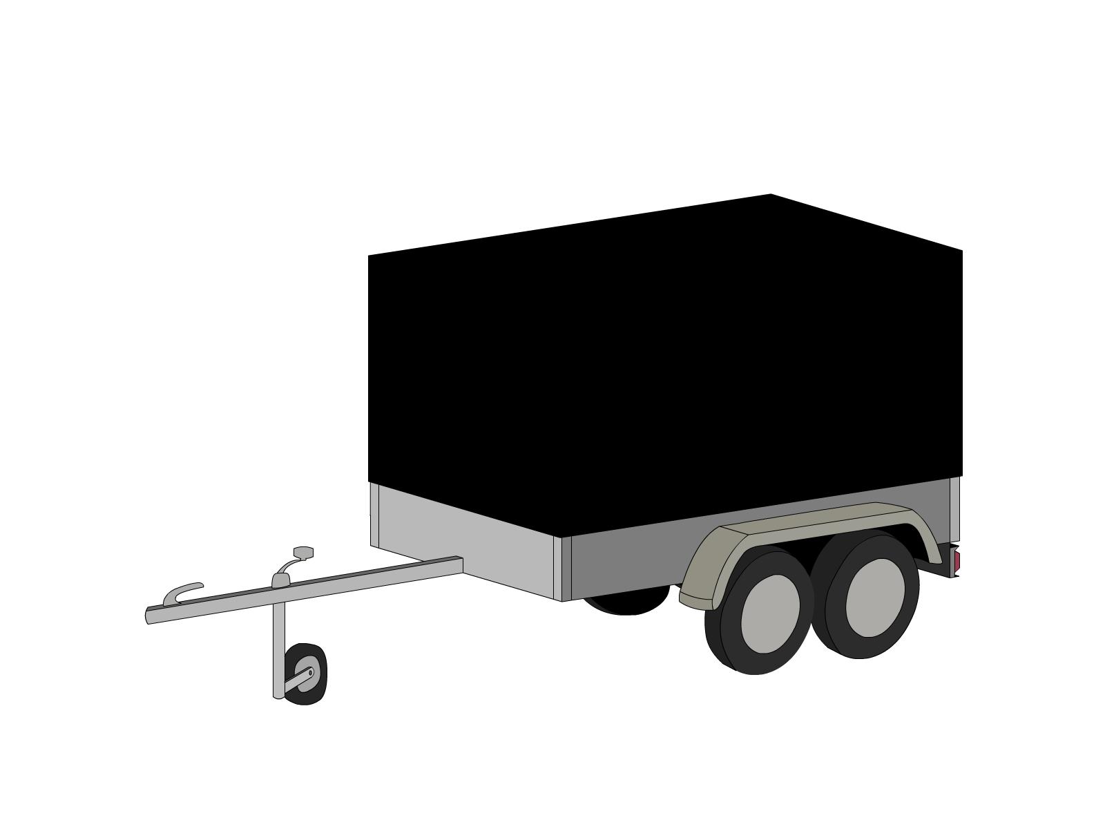 Bâche pour remorque bagagère haute droite 2 essieux