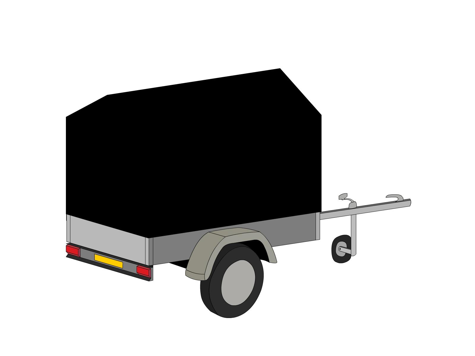 Bâche pour remorque bagagère haute flèche 2 essieux
