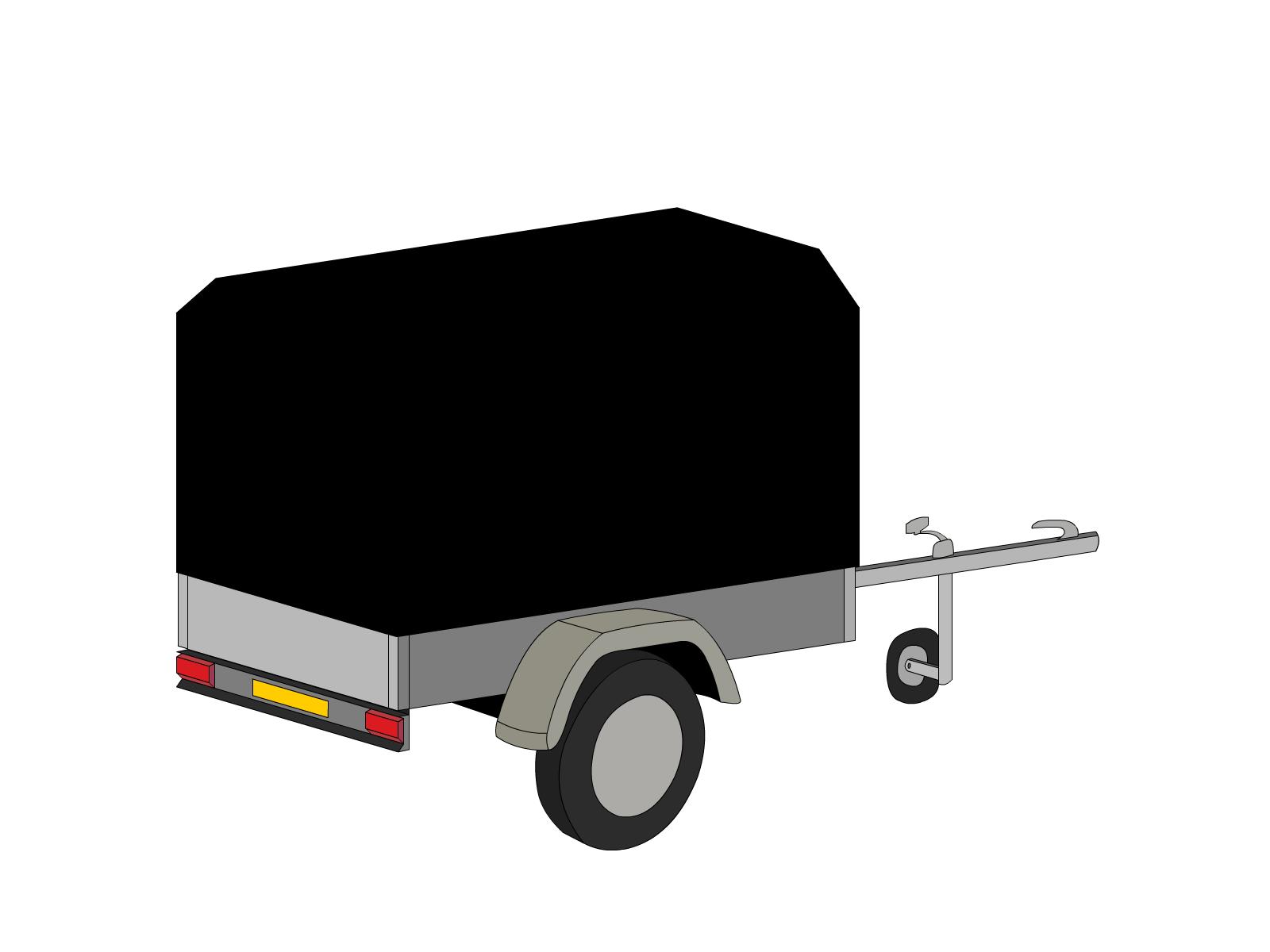Bâche pour remorque bagagère pan coupé 2 essieux